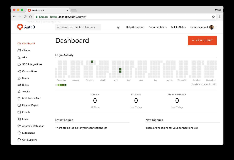 Auth0 dashboard