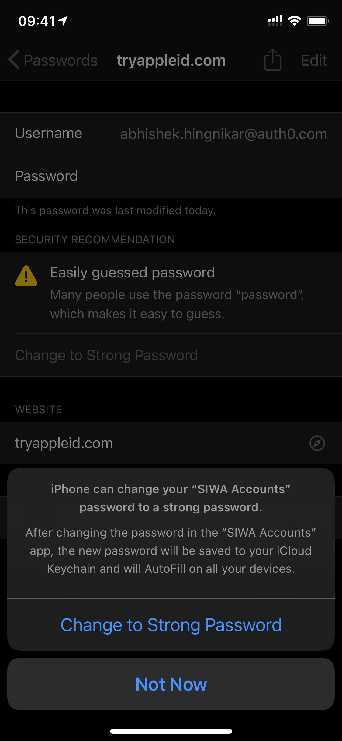 Apple Keychain password upgrade confirmation