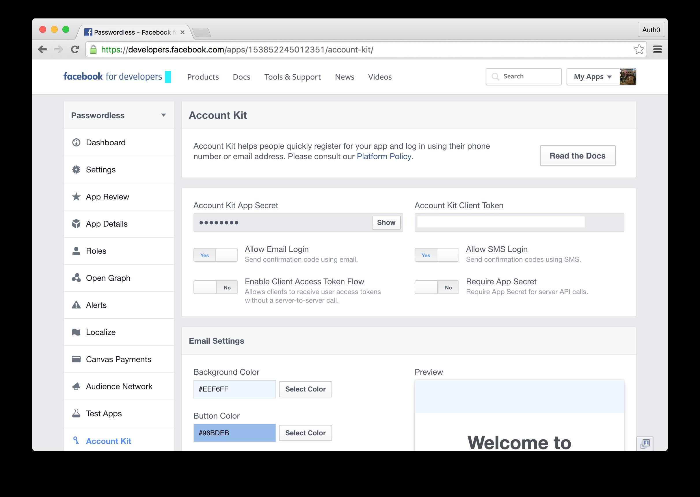 Account Kit Dashboard