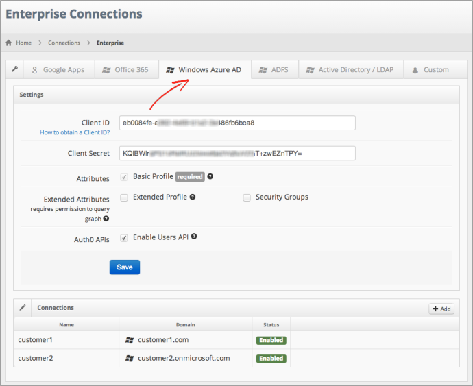 Windows Azure Active Directory configuration on Auth0 dashboard