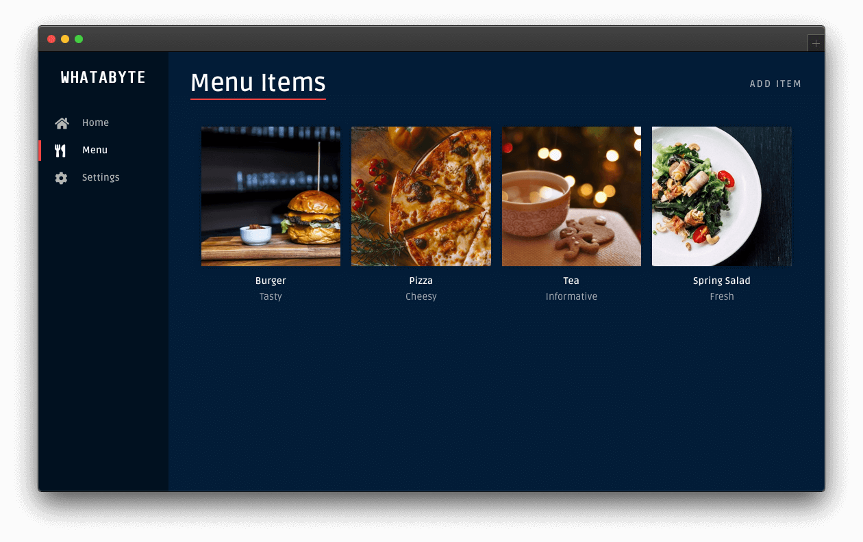 Menu page showing new item