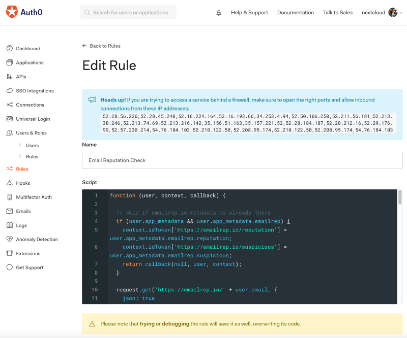 Auth0 Dashboard: Rule Code