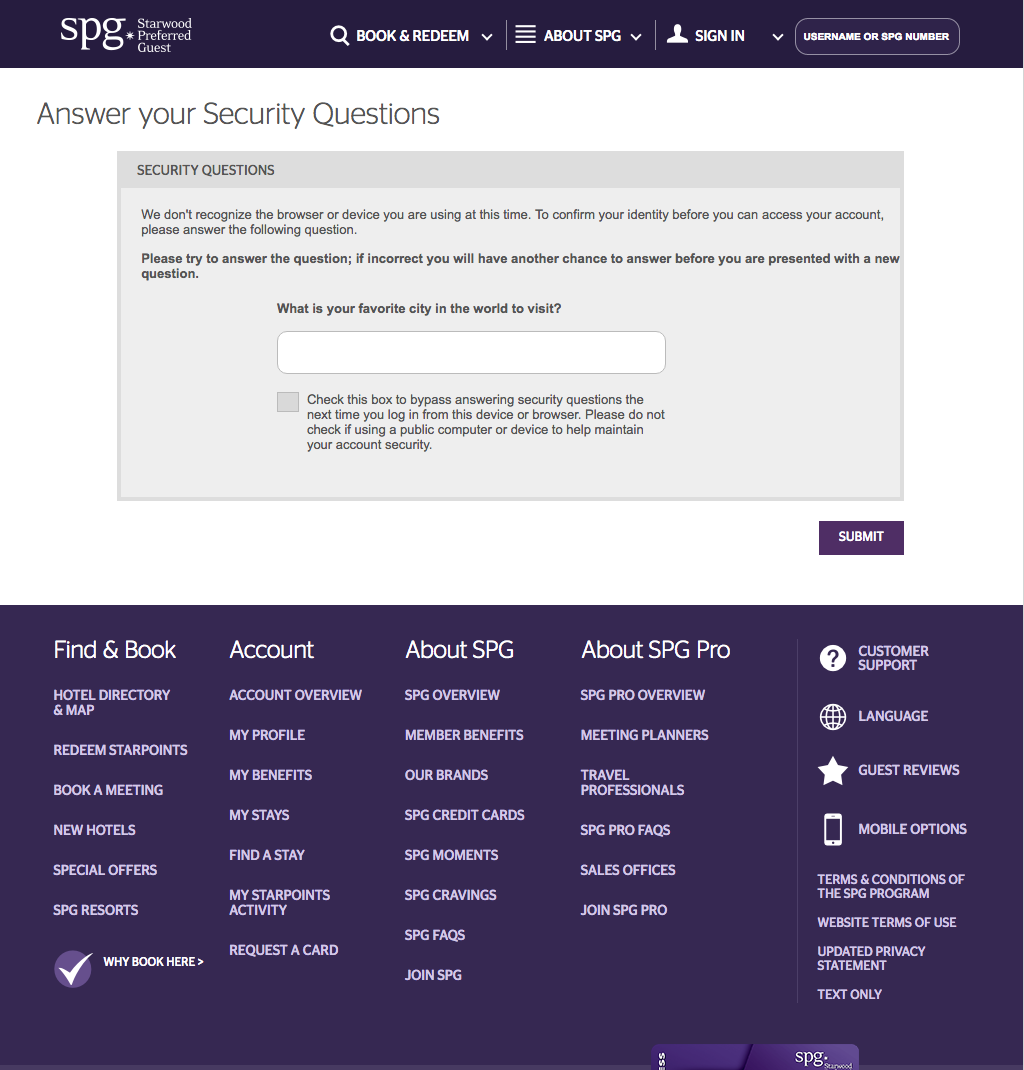 SPG Loyalty Program login with many security questions