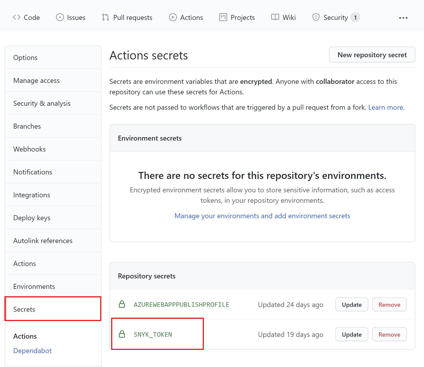 Snyk token configuration on GitHub