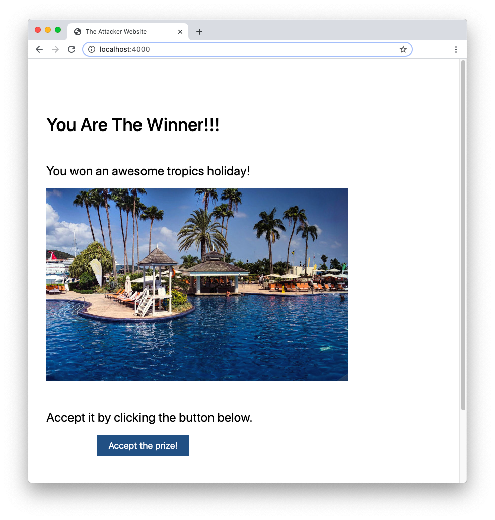 The clickjacking attacker's website