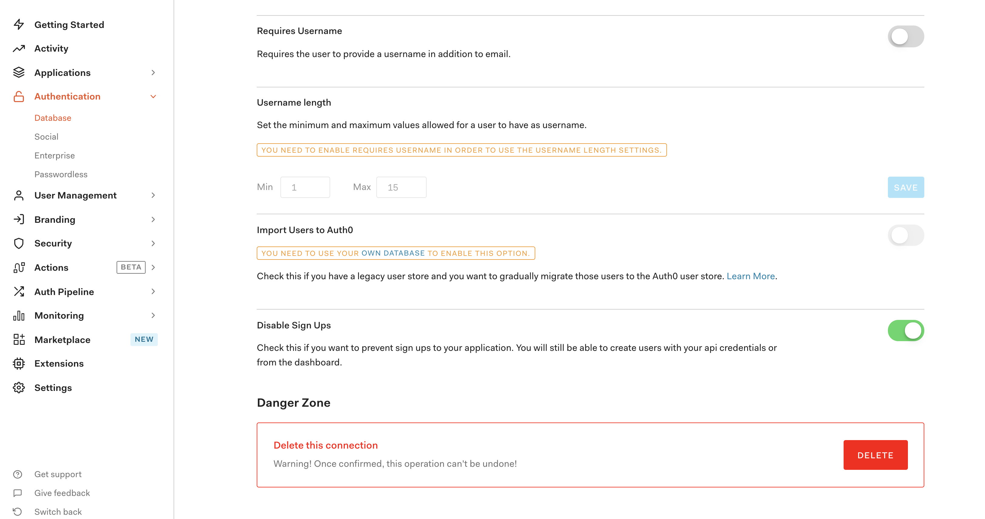 Screenshot of Auth0 database options