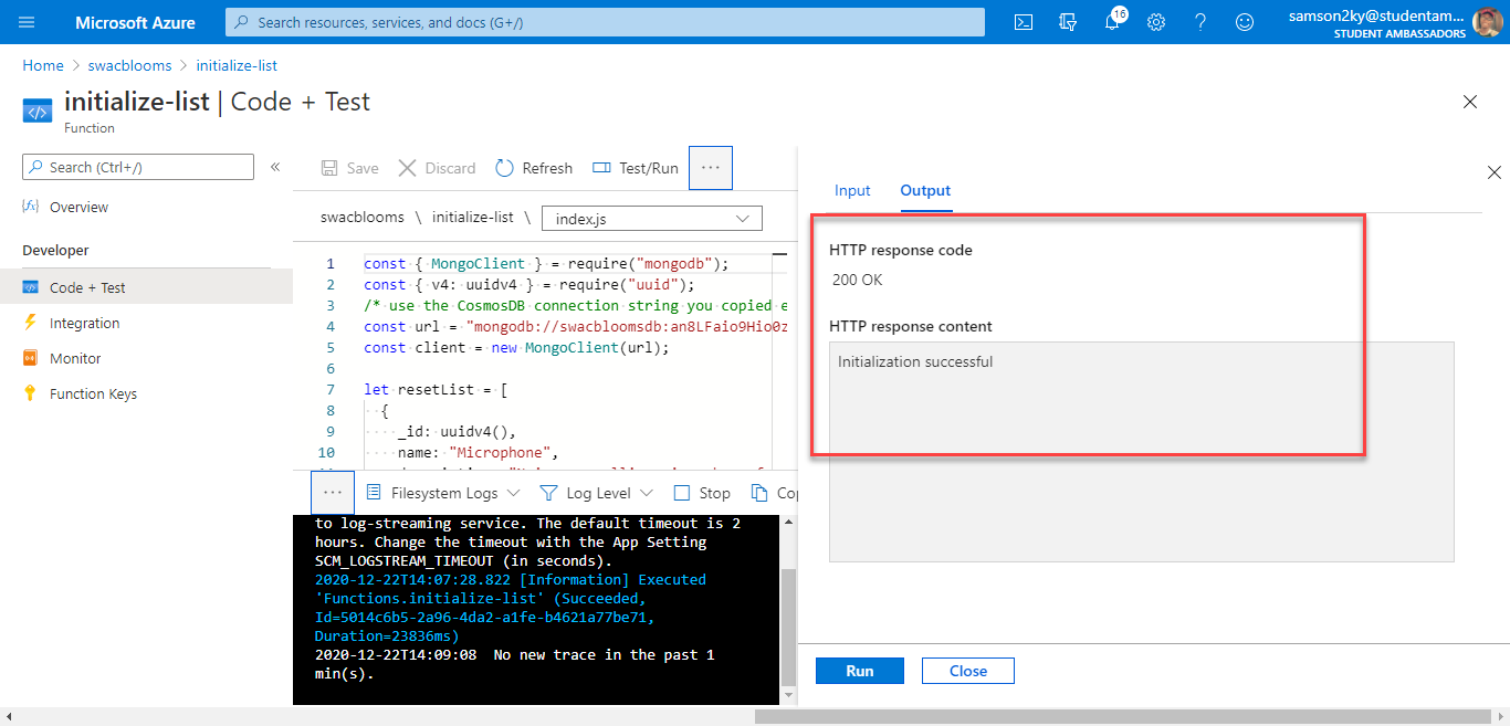 Successful test on an Azure Function