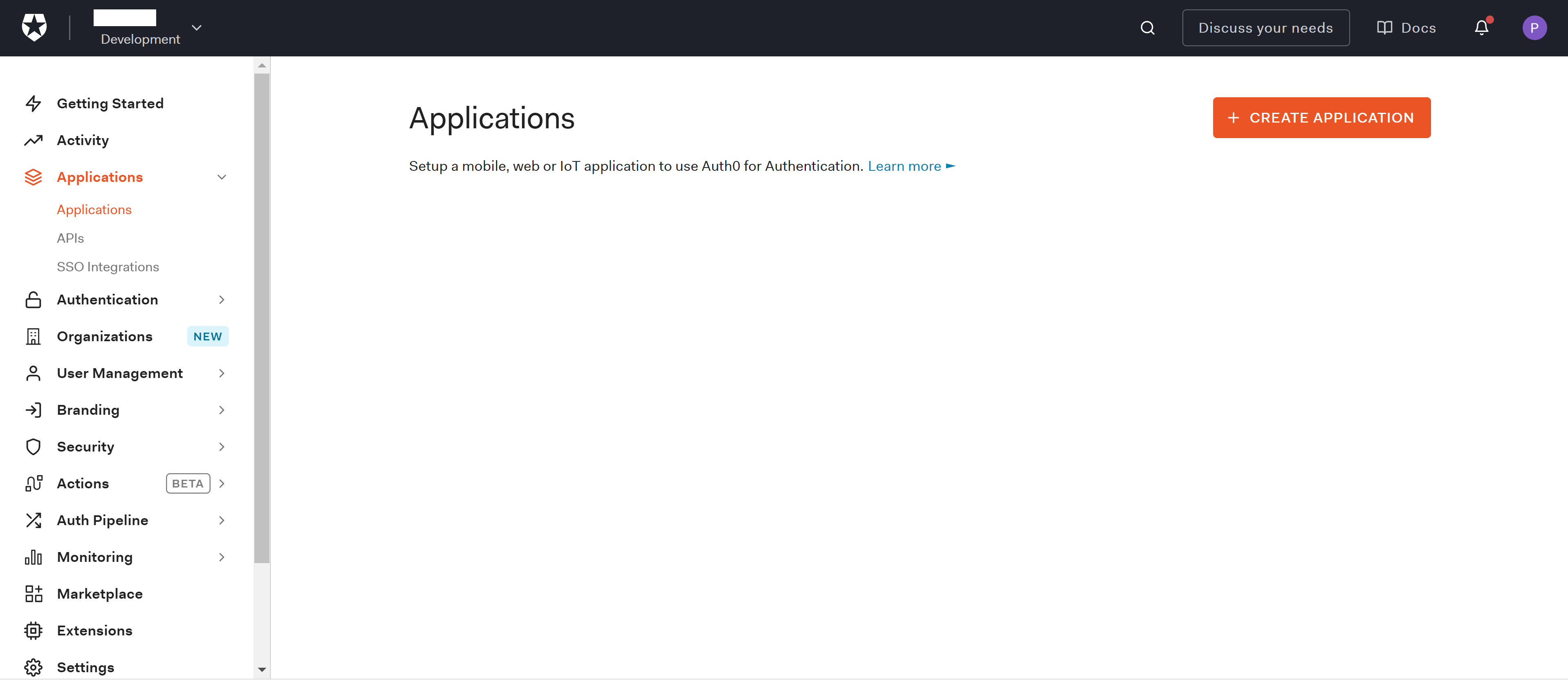 Applications section in the Auth0 Dashboard