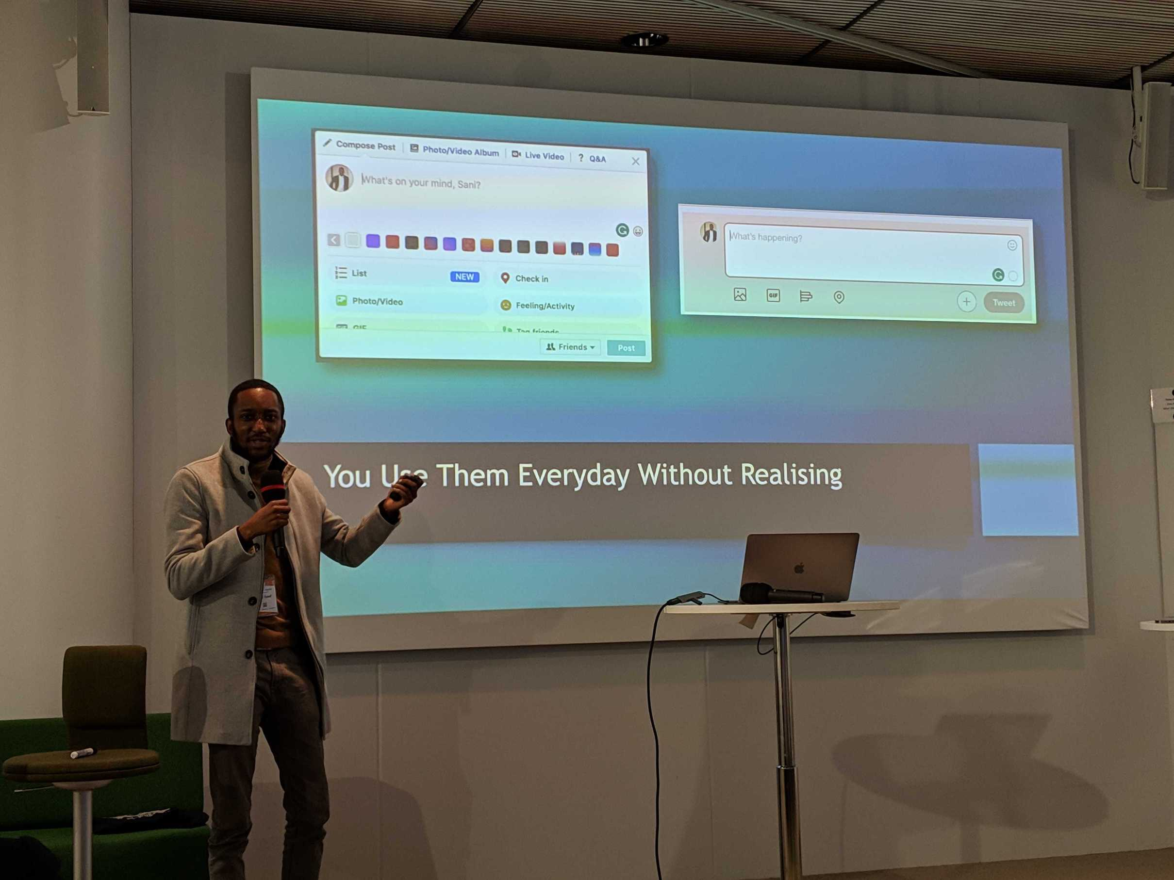 Sani Yusuf speaking about reactive forms at Angular Finland conference.