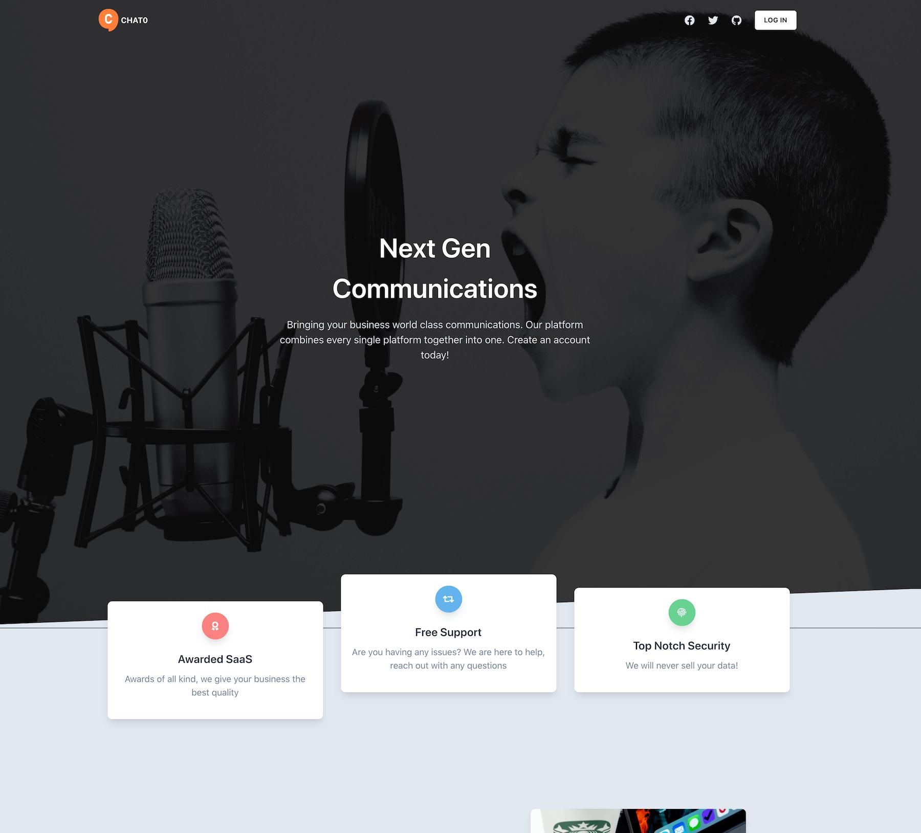 Screenshot of Chat0 dummy app