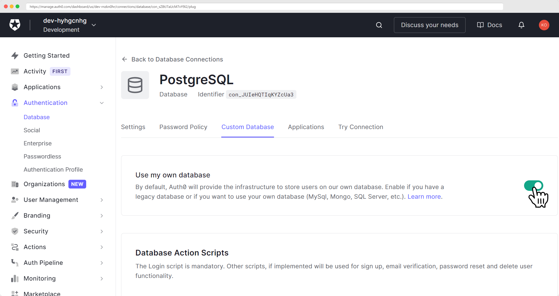 Enabling 'use my own database' on custom database tab of Auth0 interface