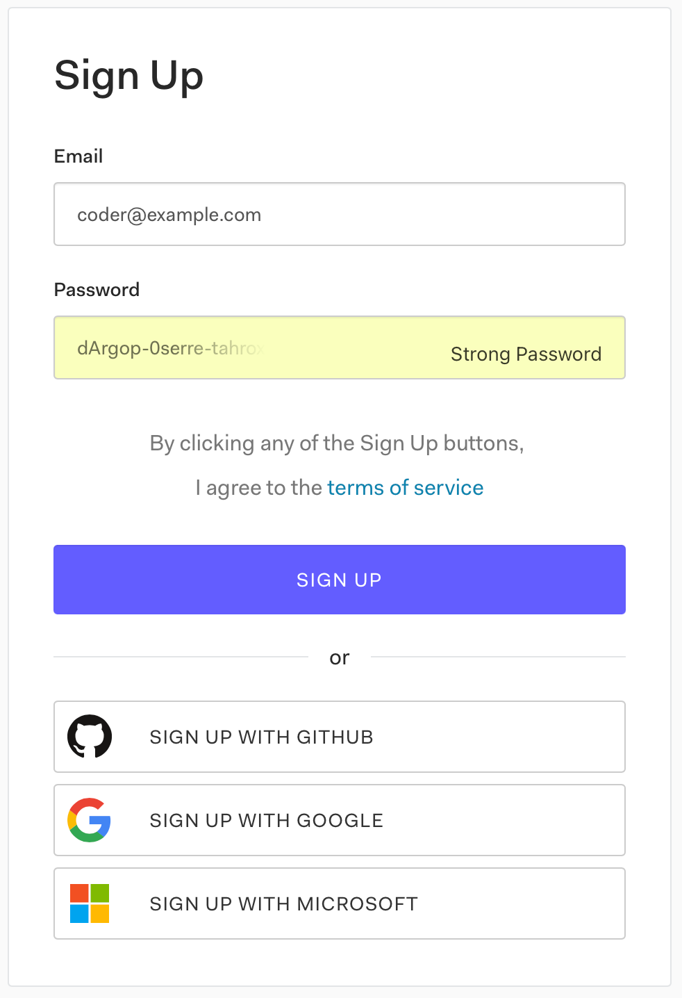 """Auth0's """"Sign Up"""" form, which has """"Email"""" and """"Password"""" fields, and links to sign up with a GitHub, Google, and Microsoft account."""