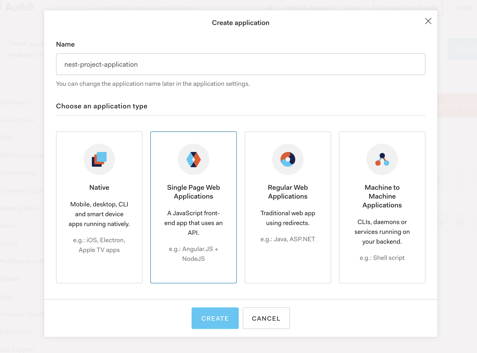 Auth0 Application Setup - SPA
