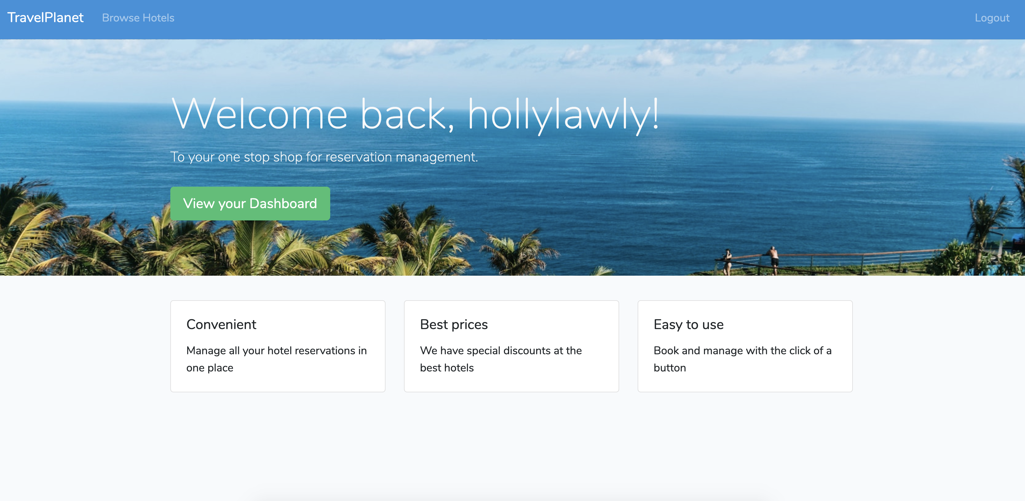 Demo Laravel app Logged in homepage