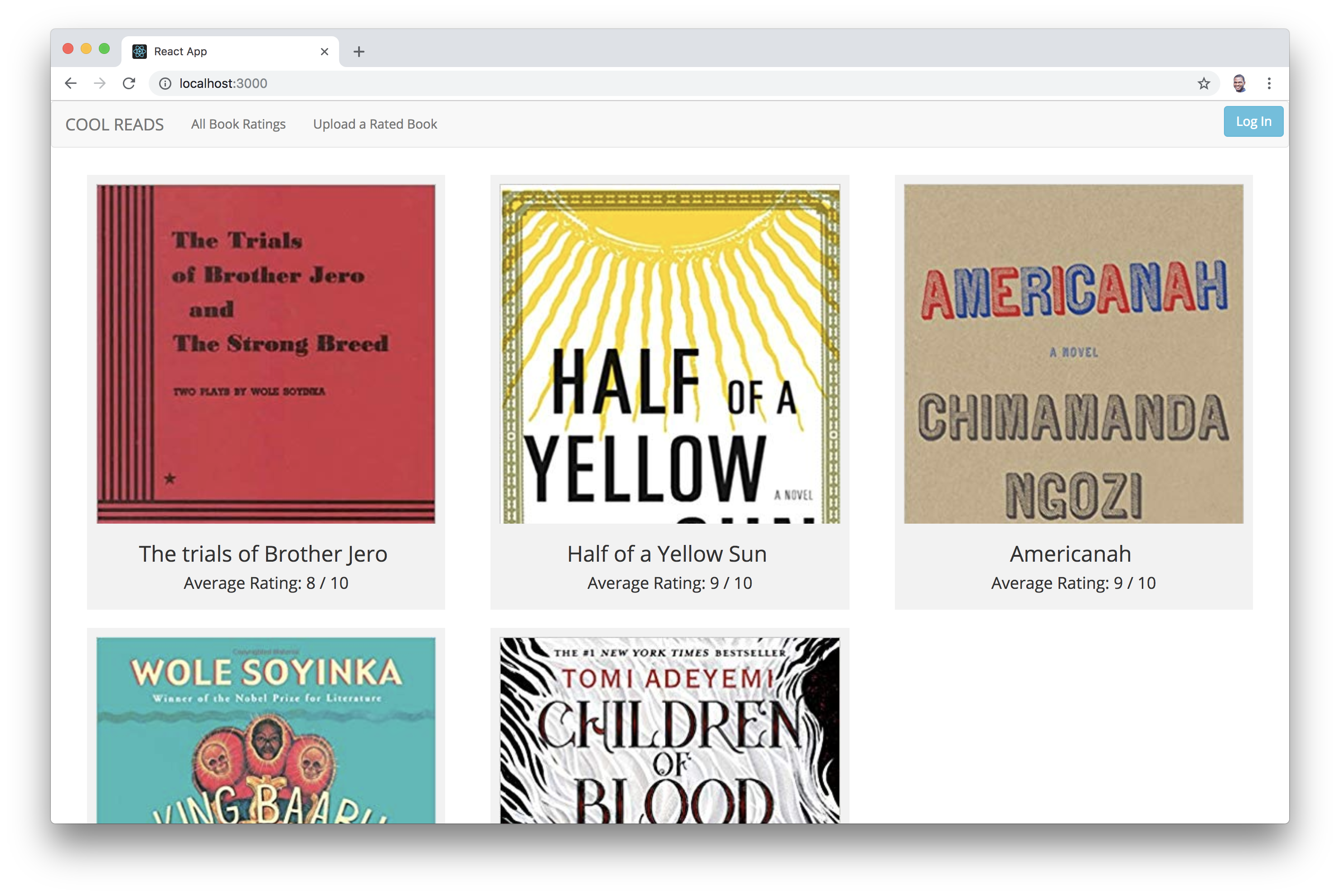 React App locally showing our list of books