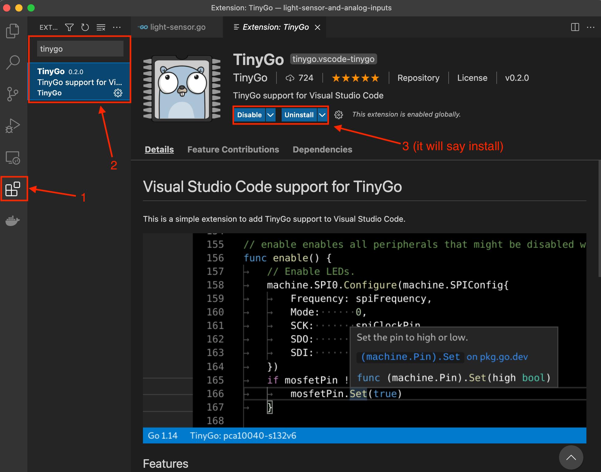 install tinygo vscode editor plugin