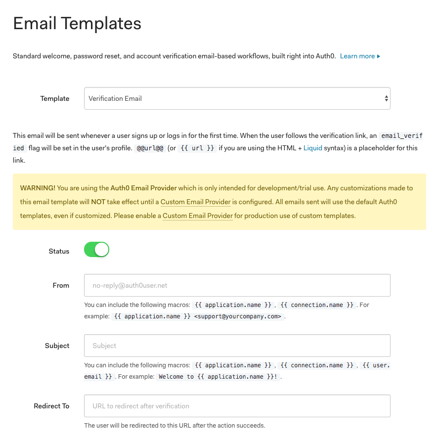 Auth0 Email Templates