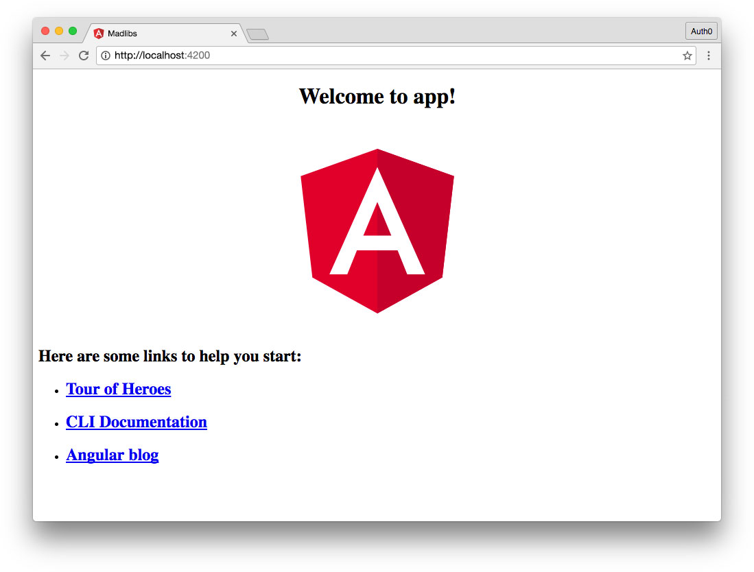 new Angular app works