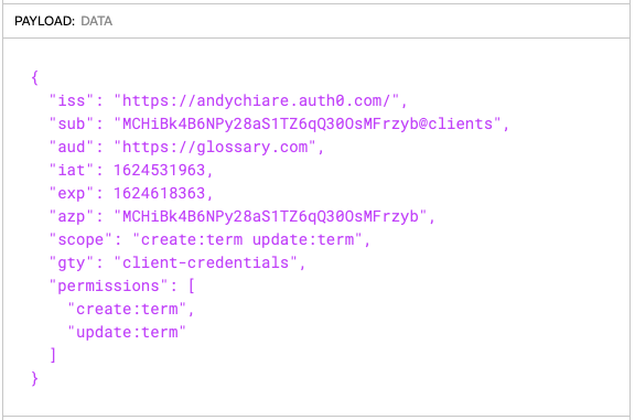 Writing permissions in JWT