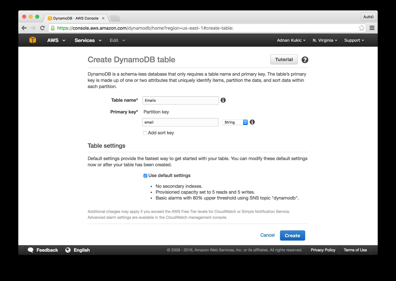 DynamoDB Setup