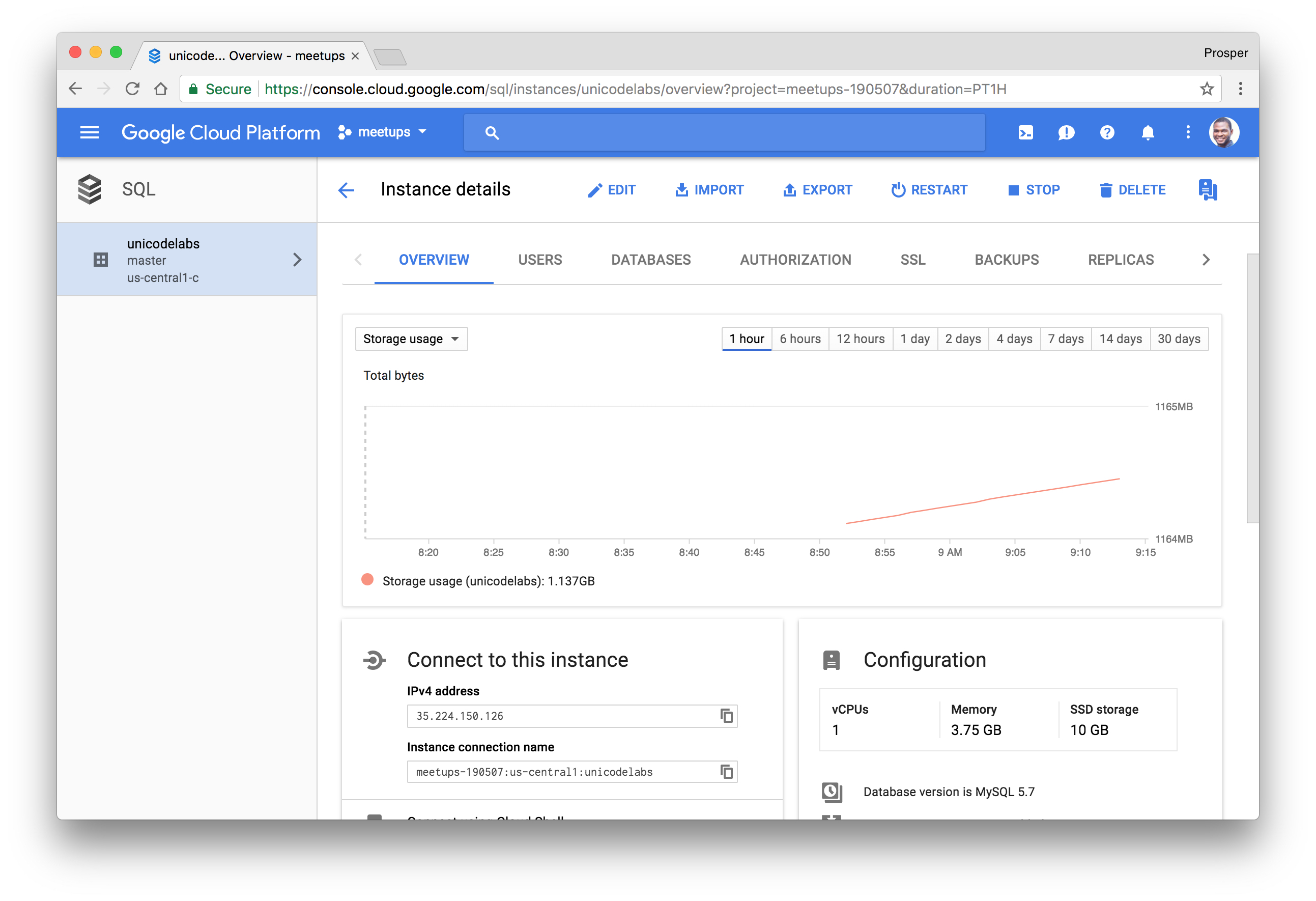 Google Cloud SQL dashboard