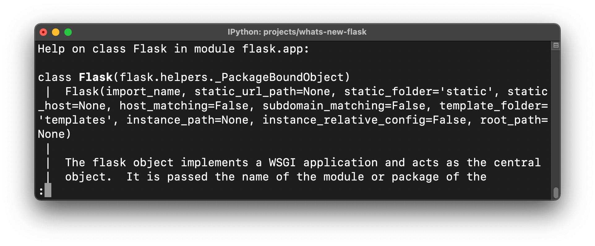 Screenshot of the help documentation for Flask class object before upgrading Flask