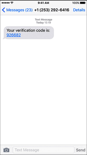 Image of text message with verification code to complete web app login