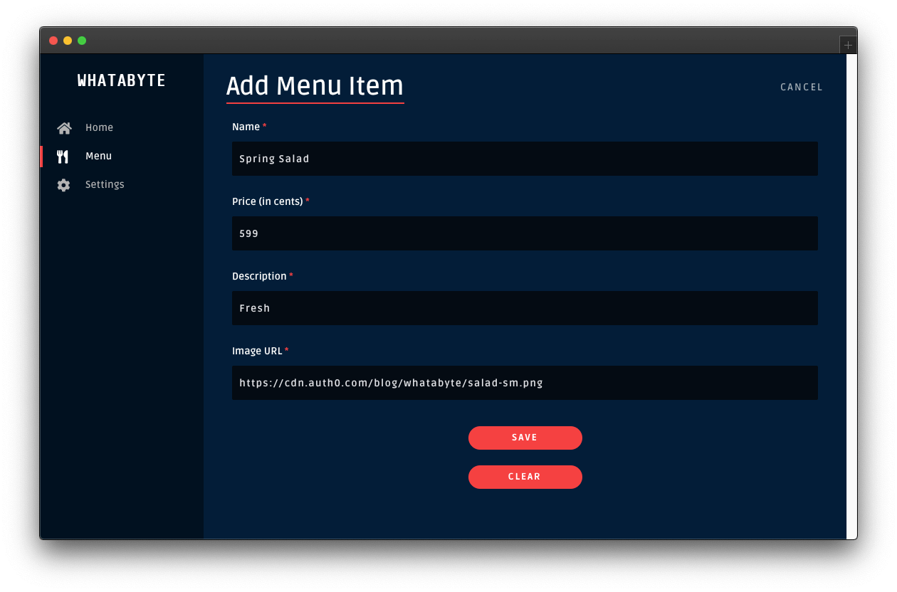 Page to add a menu item
