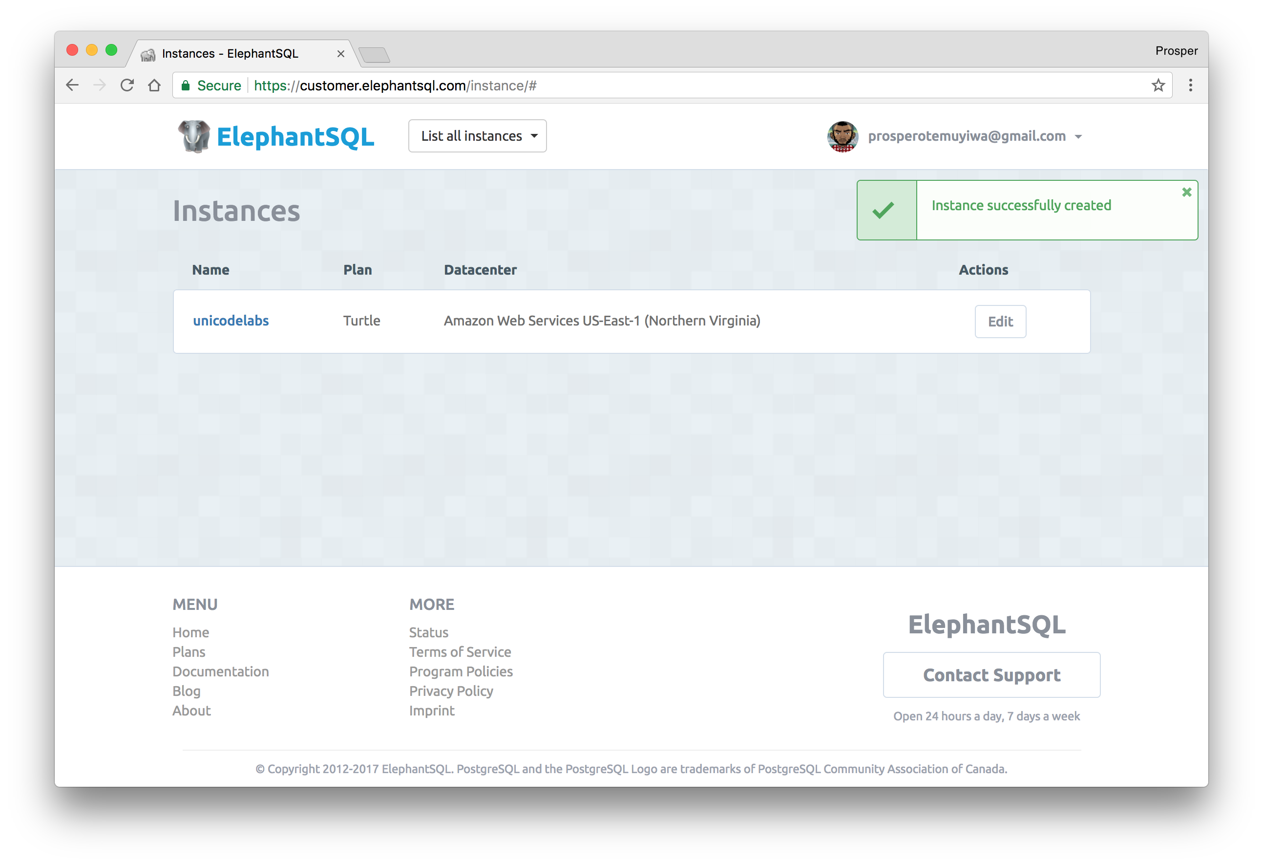 Created Elephant SQL instance