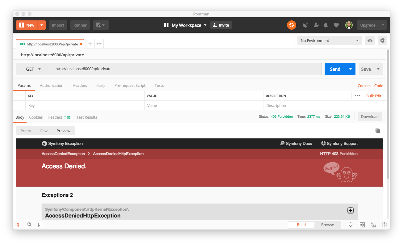 Testing the now-secured Symfony endpoint.
