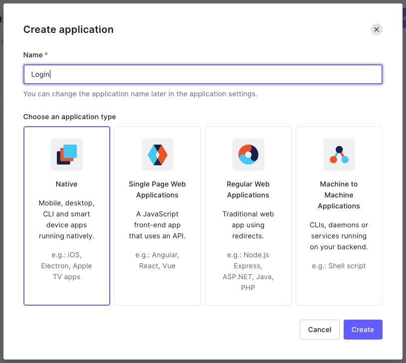 """The """"Create application"""" dialog. The application's name is set to """"Login"""", and the selected application type is """"Native""""."""