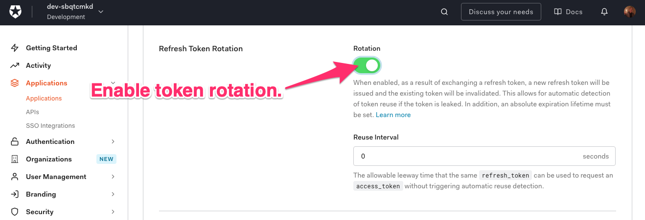 """Farther down on the """"Flutter Wishlist Application"""" """"Settings"""" tab. An arrow points to the """"Refresh Token Rotation"""" switch, which is set to """"on"""". An arrow points to the switch, and it says """"Enable token rotation."""""""