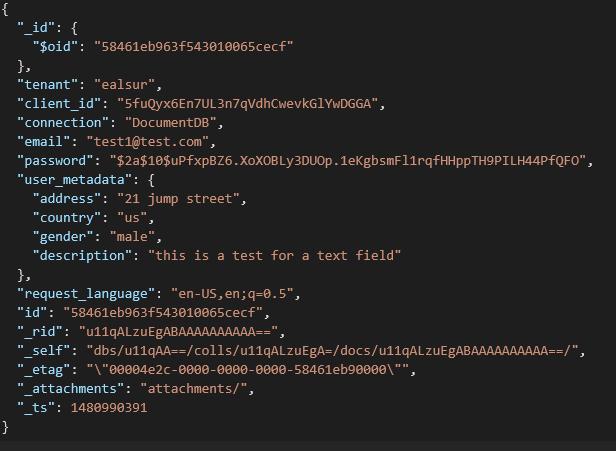 User profile on Azure DocumentDB
