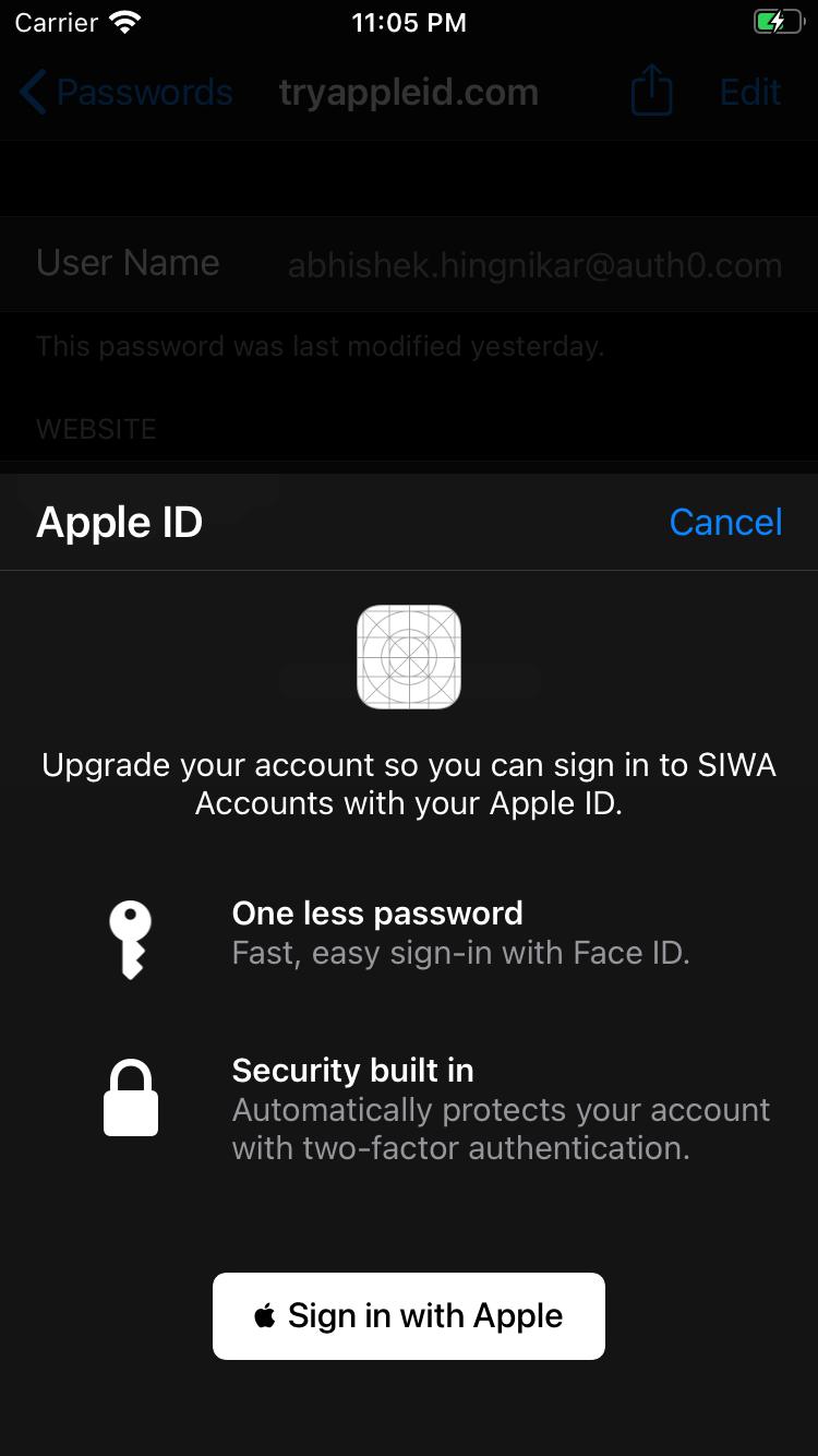 Apple Keychain SIWA upgrade