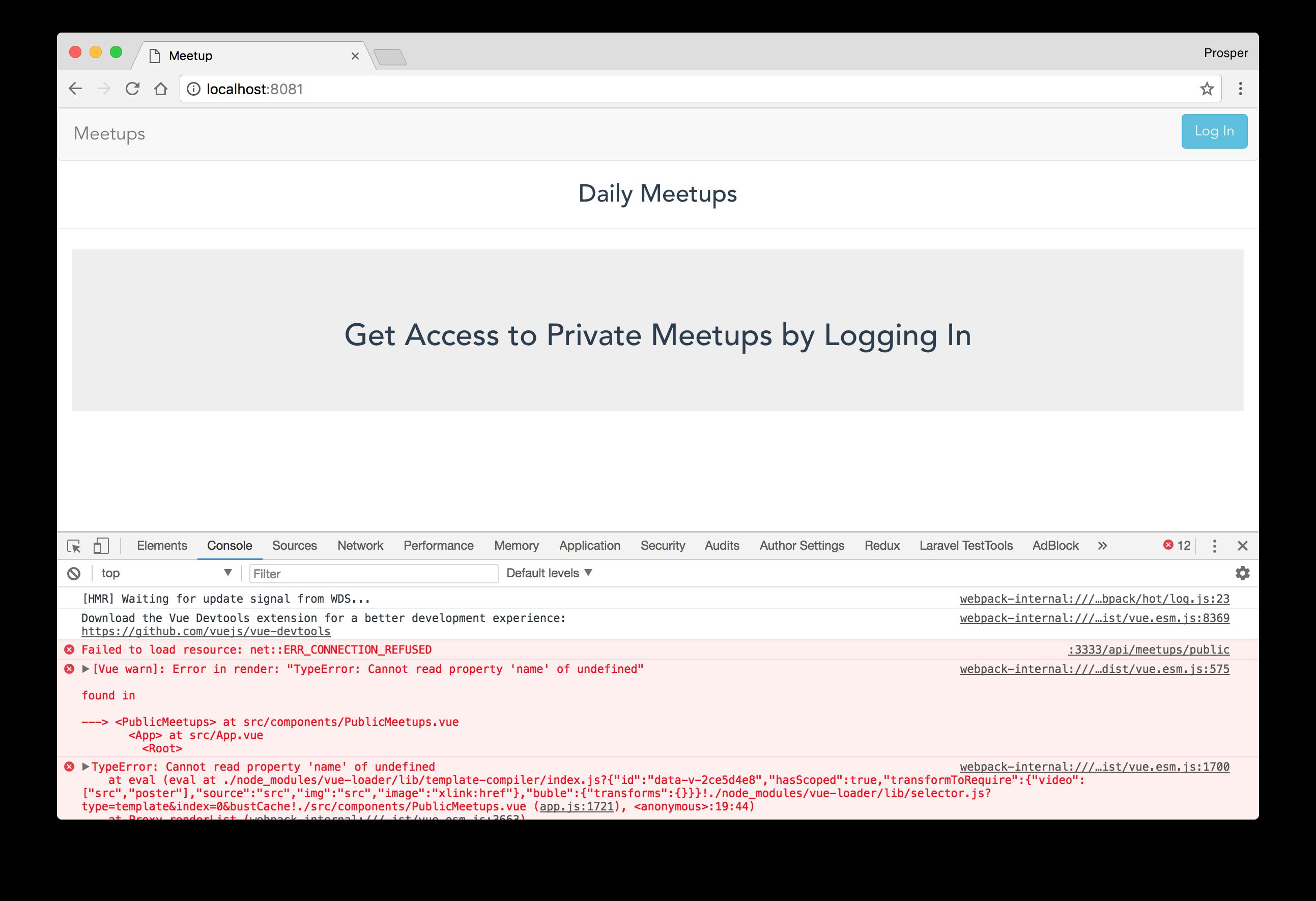 JavaScript Meetups app