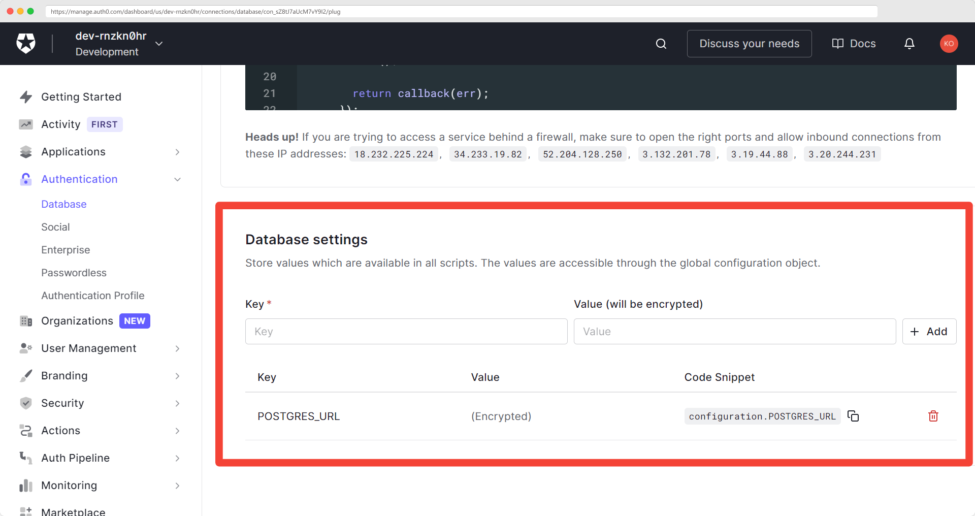 Adding the database URL as an env variable 'POSTGRES_URL' settings section