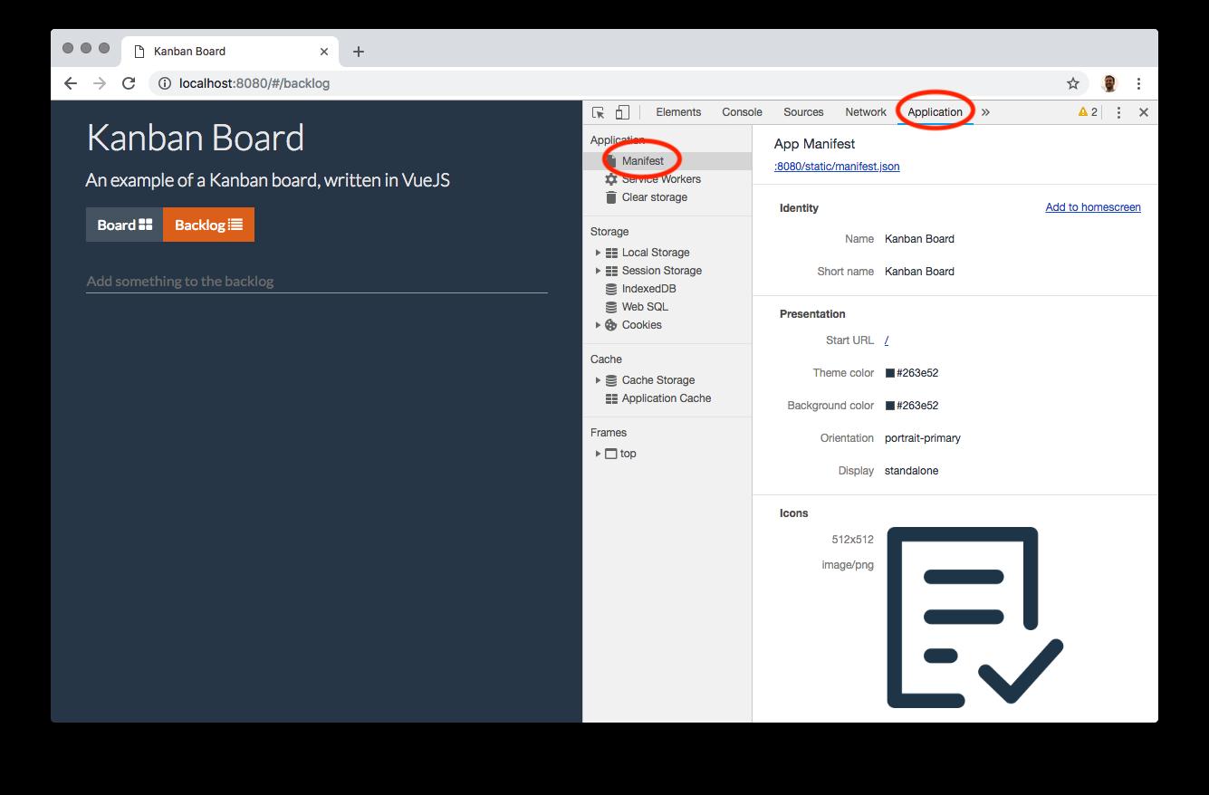 The manifest file in Application tab inside Chrome Developer Tools