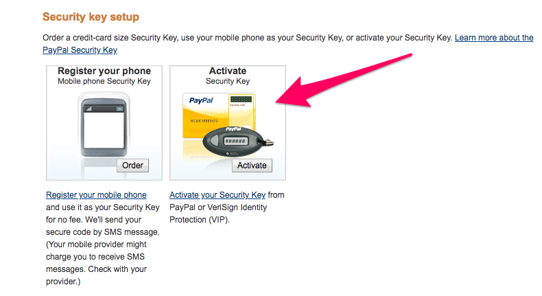 PayPal supports 2FA with mobile or security key cards