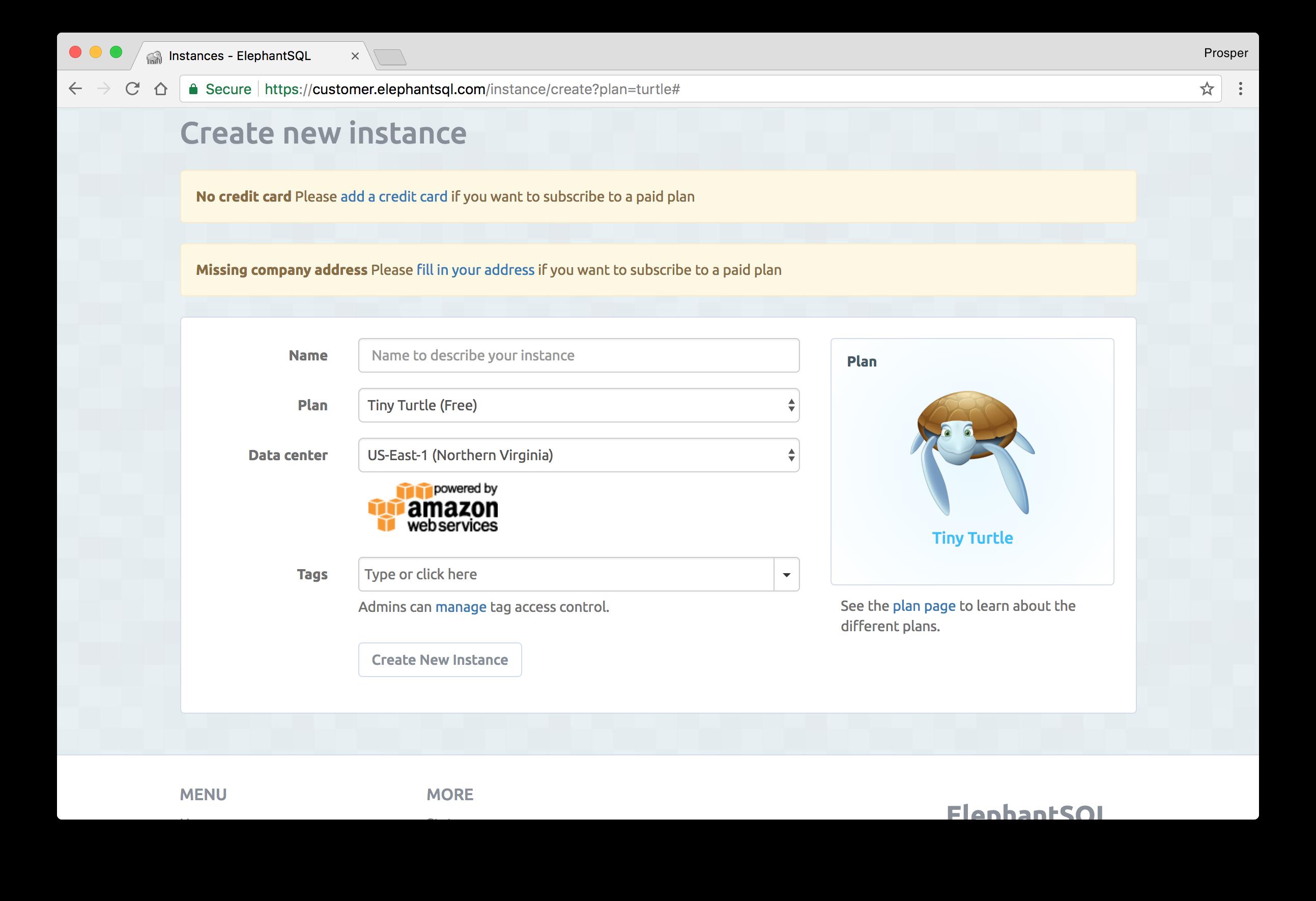 Create Elephant SQL instance