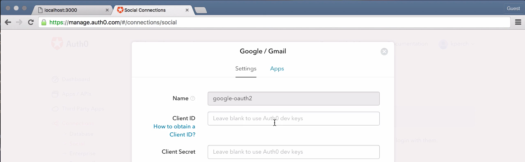 Google connection configureation window