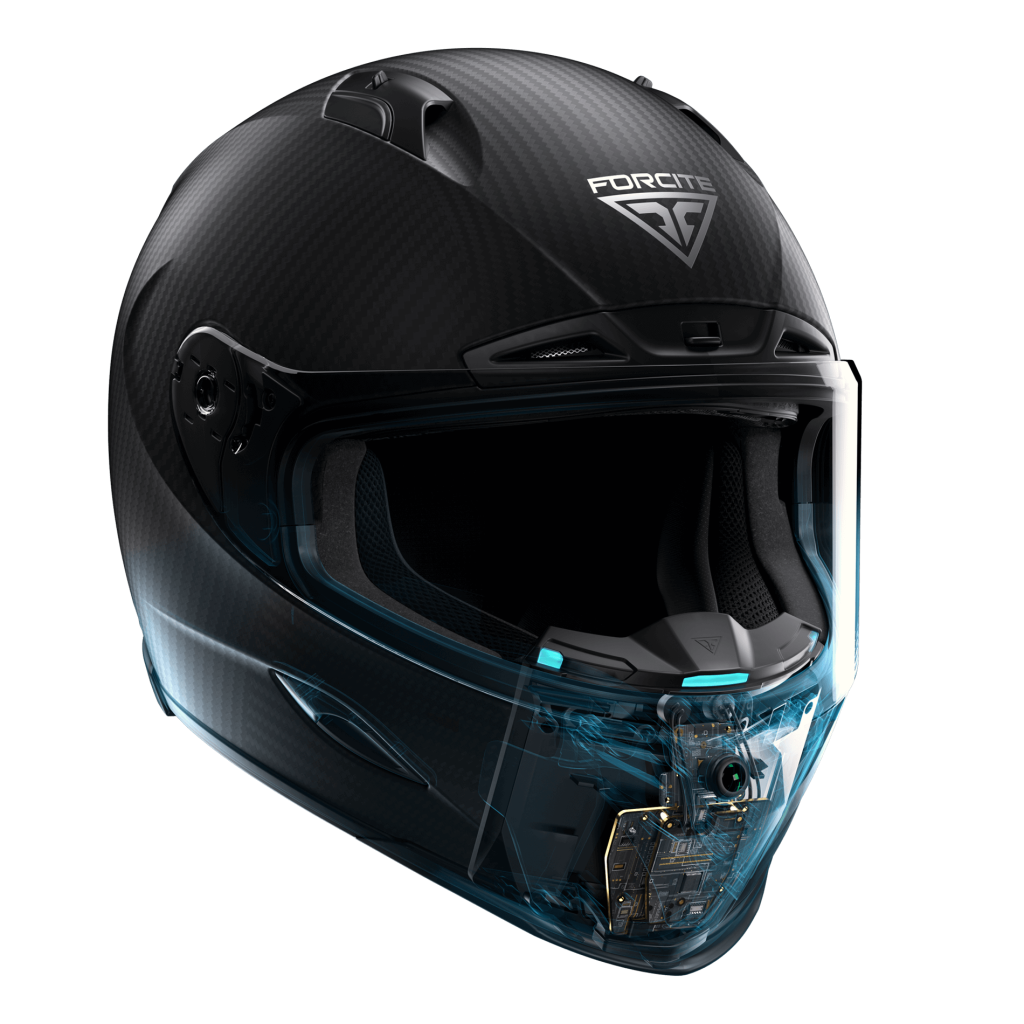 Front view of a helmet highlighting the integrated camera