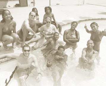 Group in pool sun care
