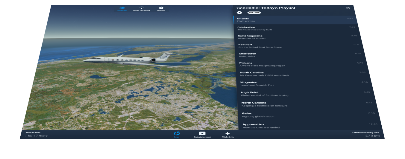 Screenshot of the Goji app showing a plane on a 3d map with GeoRadio