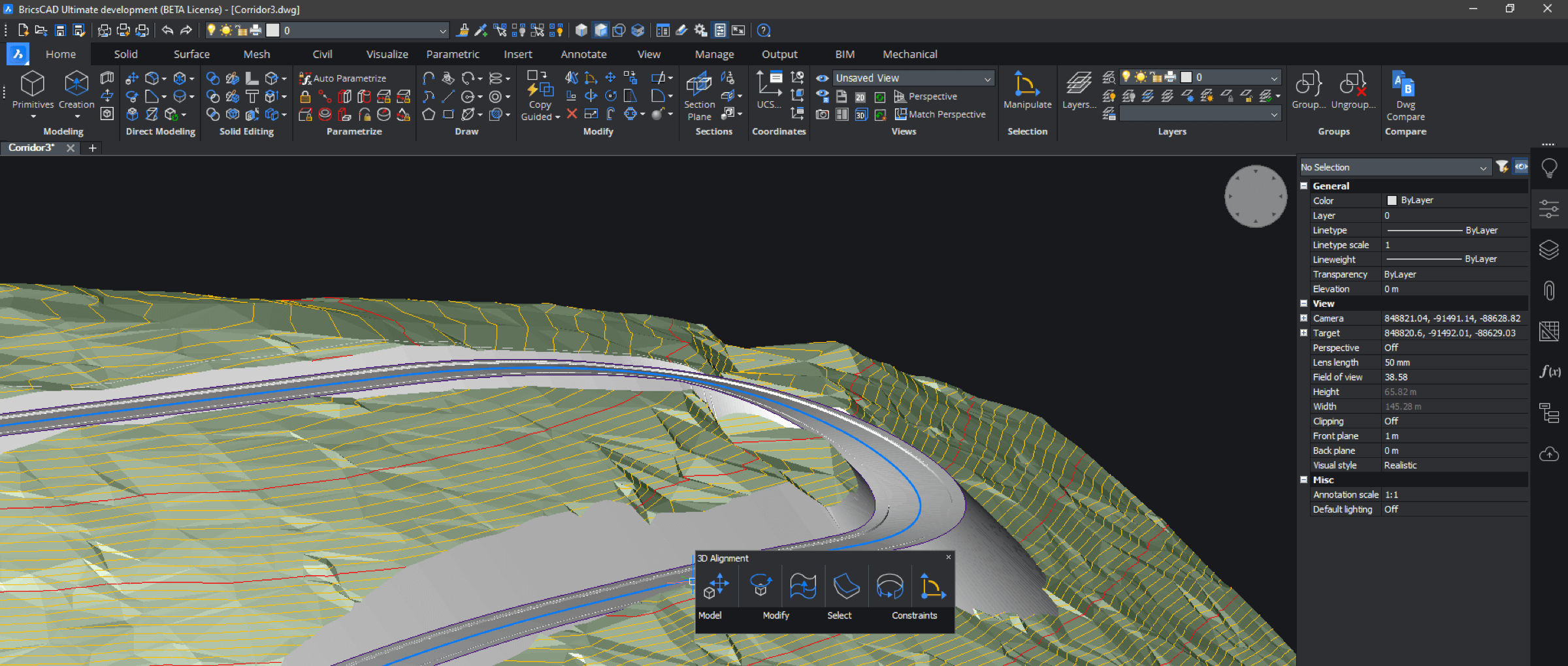 BricsCAD Pro interface 3D