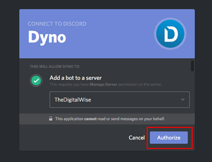 Add Dyno Bot to server