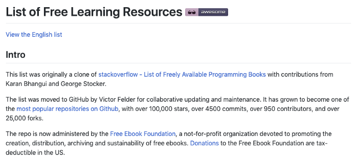 List of Free Learning Resources Repository