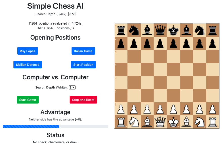 Simple chess AI with JavaScript