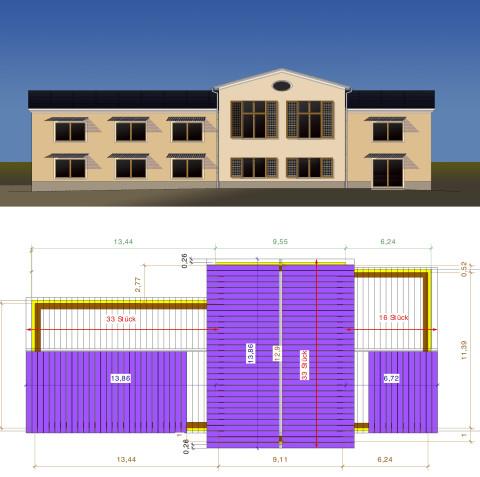 Nechlin Schnitterhaus Entwurfszeichnung Fassade und Solardach