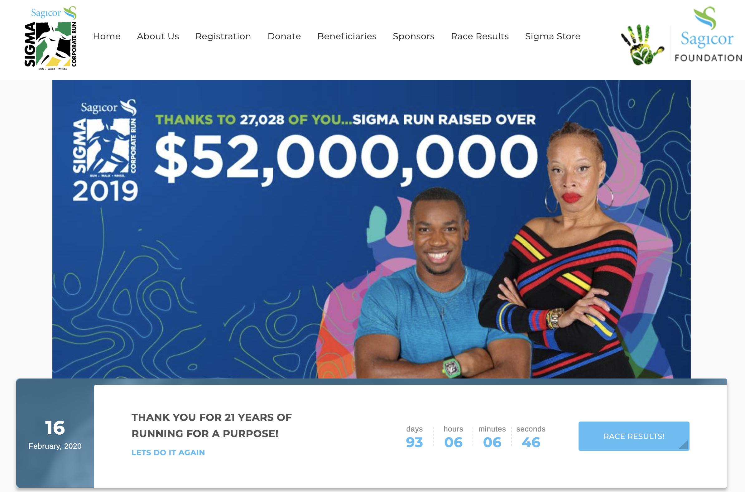 Sagicor Sigma Run Website