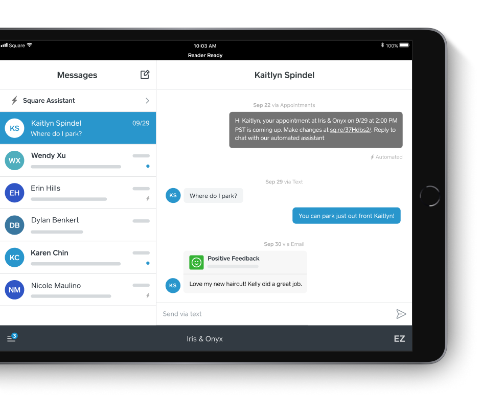 Square appointment app interface